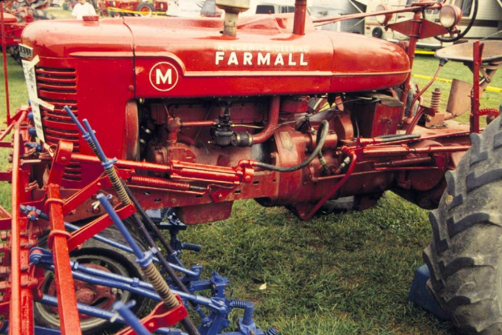 farmall ms and super ms 4 row cultivators on a farmall m at a tractor show in portland na